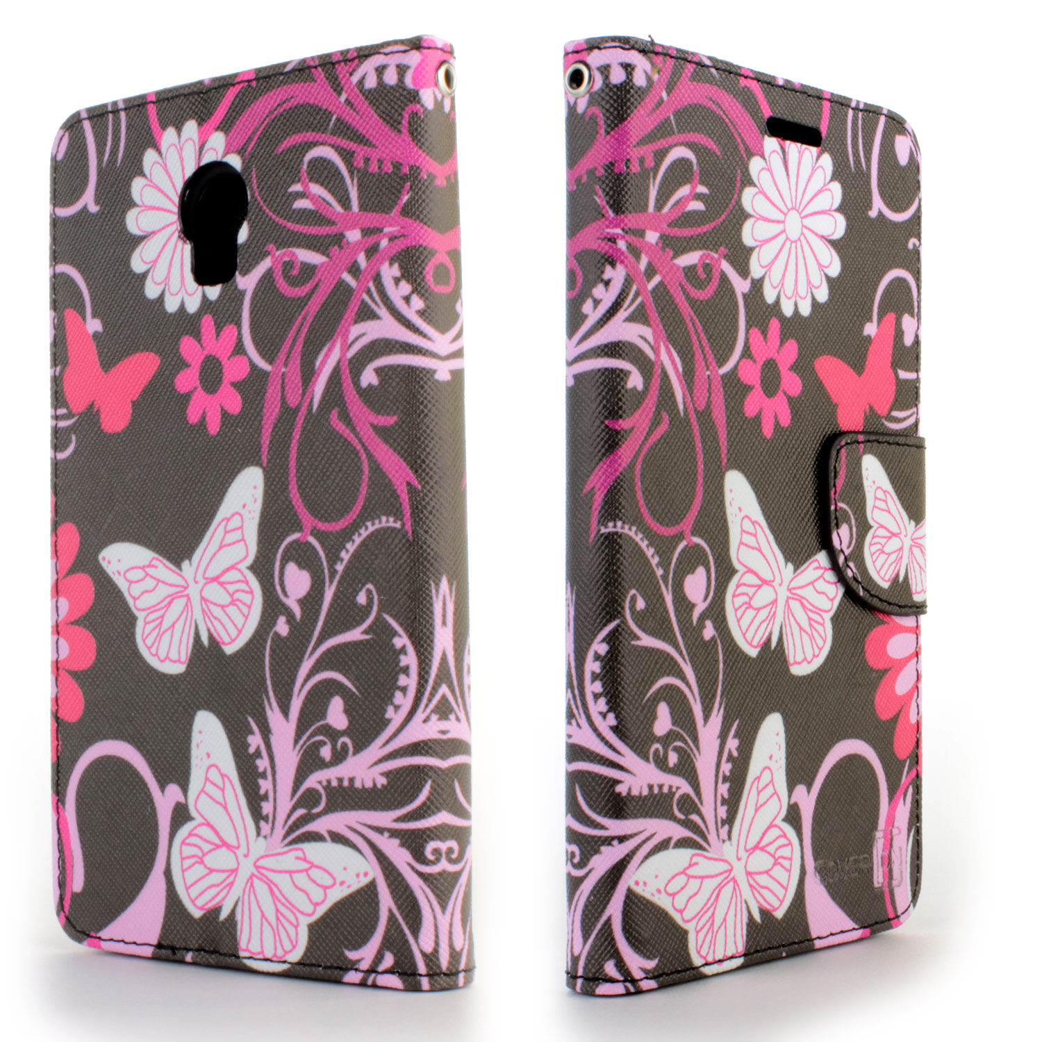 For Lenovo Vibe P1 Wallet Case Pink Butterfly Design Folio Phone