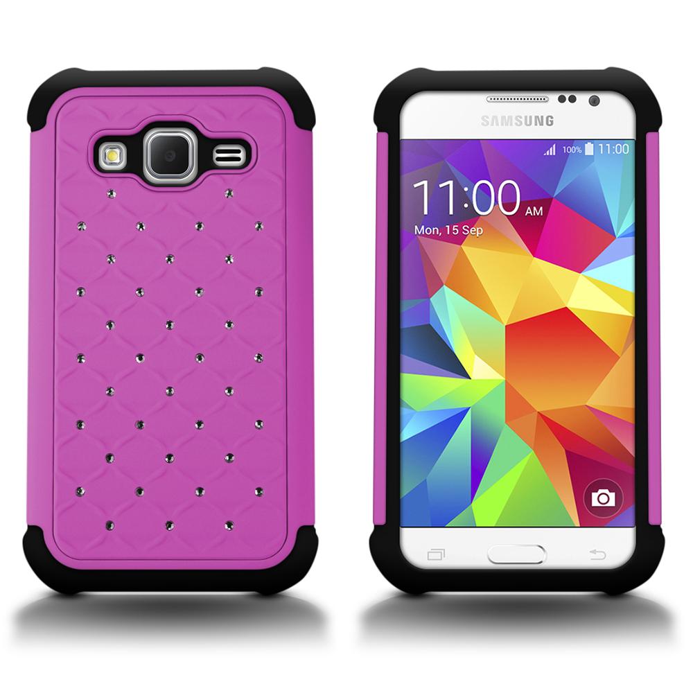 huge discount 3ec38 e4d55 Details about For Samsung Galaxy Prevail LTE / Core Prime Case Purple /  Black Diamond Cover