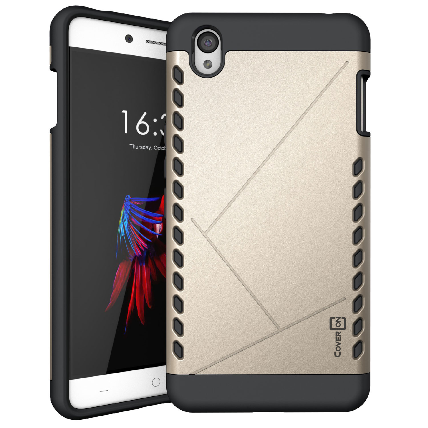 first rate b4f4e 1a8ee Details about Gold / Black Slim Hard Hybrid Phone Cover for OnePlus X Hard  Case
