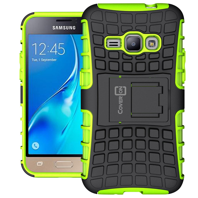 quality design ee2d5 eb554 Details about Neon Green Kickstand Case for Samsung Galaxy Express 3 / Luna  / J1 Luna Cover