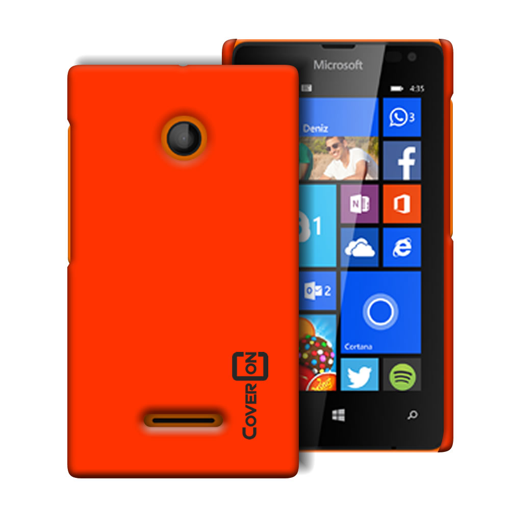 premium selection 94fe2 4a8b4 Details about Neon Orange Hard Case for Microsoft Lumia 435 - Slim Fit  Matte Back Phone Cover