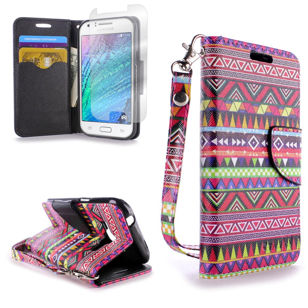 new style a3731 03e69 For Samsung Galaxy J1 Case - Flip Folio Credit Card & Cash Wallet ...