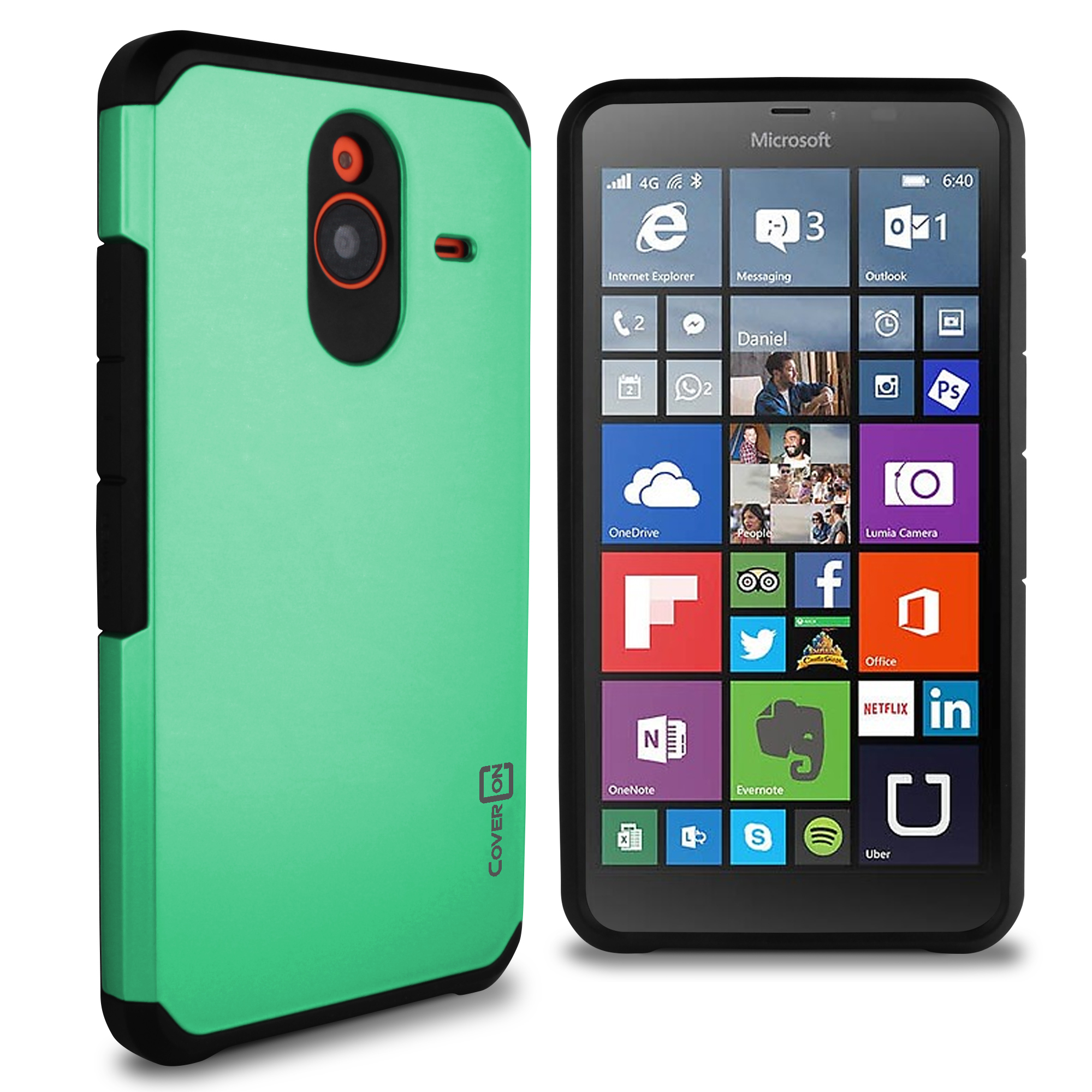 sports shoes 12d43 ff7ff Details about for Microsoft Lumia 640 XL Case - Teal / Black Slim Rugged  Armor Phone Cover