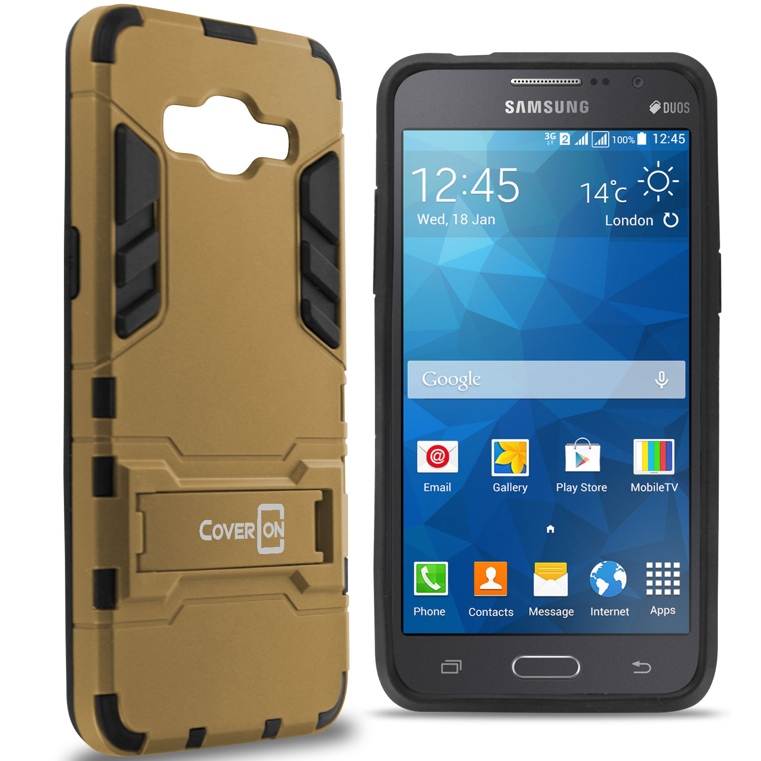 wholesale dealer 8e28c 9f057 Details about For Samsung Galaxy Grand Prime Case Armor Kickstand Slim Hard  Cover Gold / Black