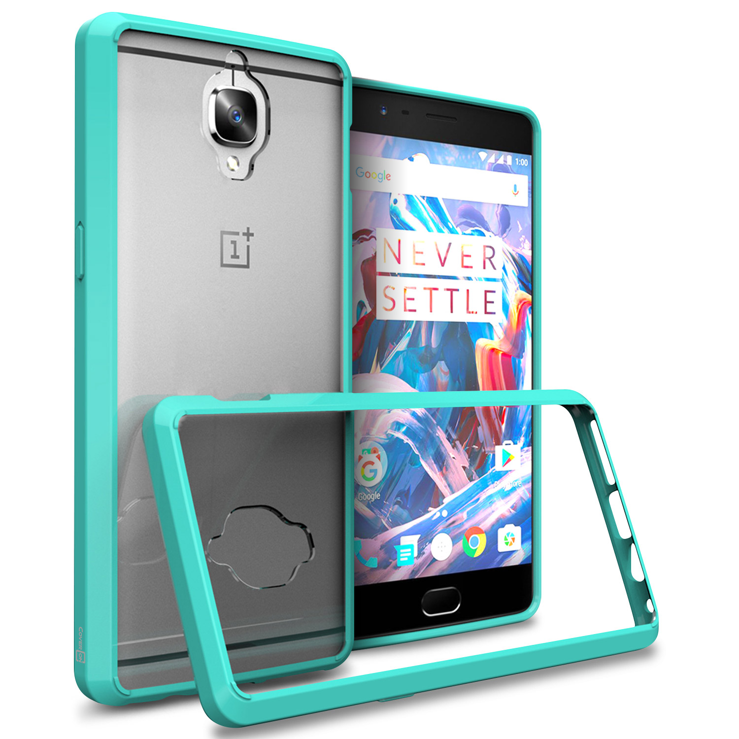 check out 3f1e9 0d16f Details about Hybrid Slim Fit Hard Back Cover Phone Case for OnePlus 3 / 3T  Teal / Clear