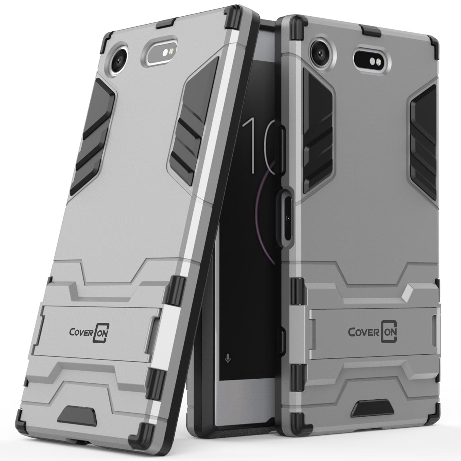 buy online cdb62 29de9 Details about for Sony Xperia XZ1 Compact Phone Case Armor Kickstand Slim  Hard Cover Silver