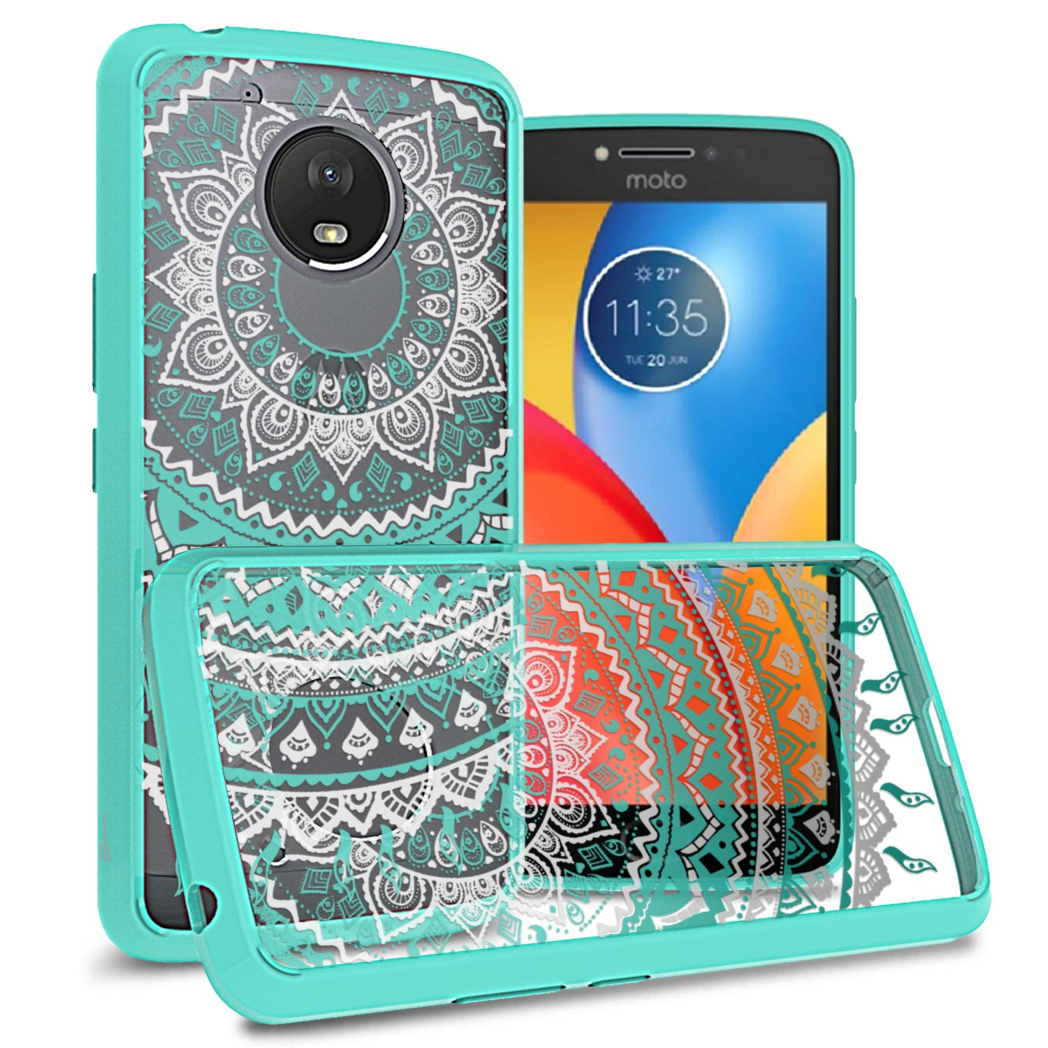 sports shoes b14be f4331 Details about Slim Fit Back Cover Case For Motorola Moto E4 Plus (E Plus  4th Gen) Teal Mandala