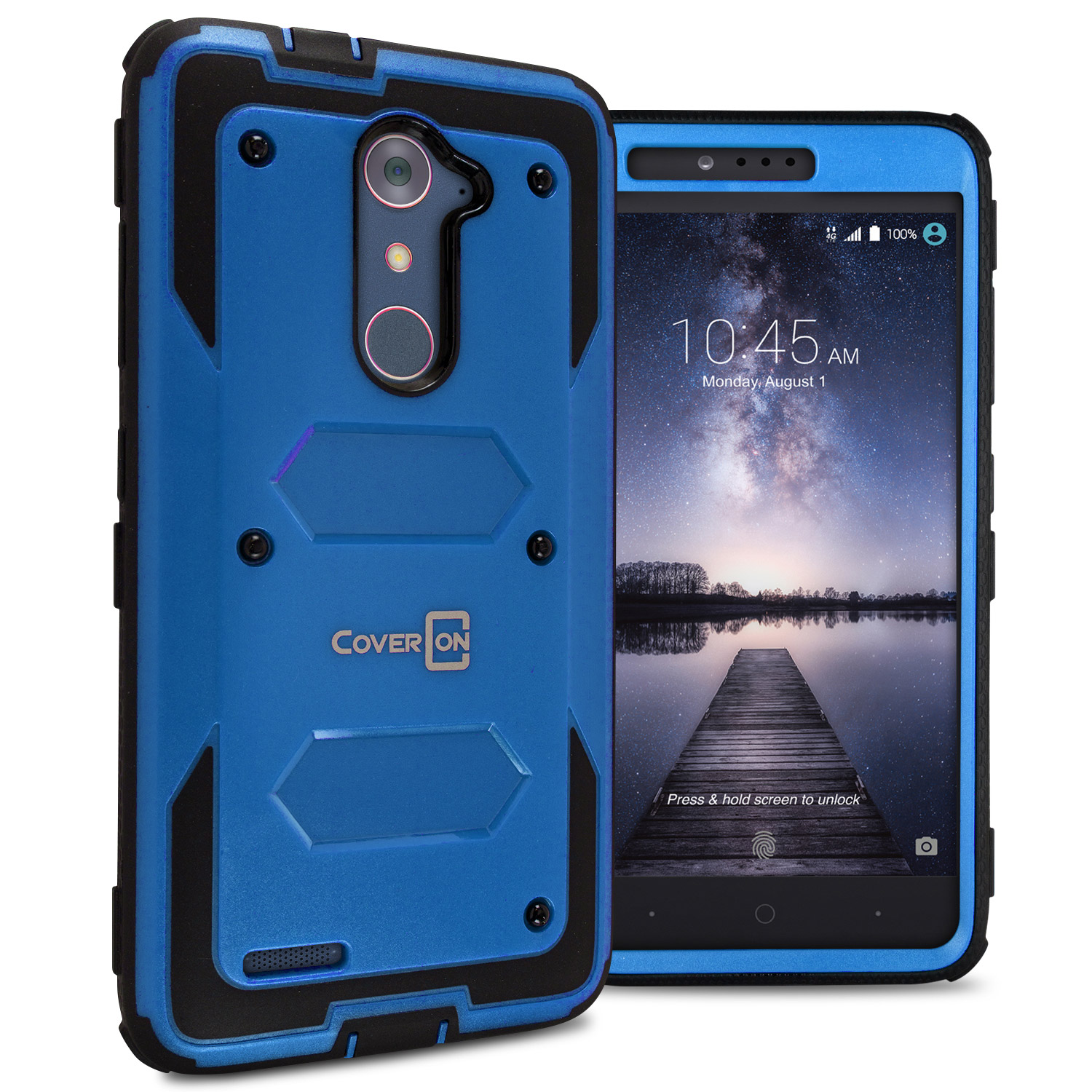 save off 8288e 55f49 Details about For ZTE ZMax Pro / Carry Blue / Black Case Protective Armor  Hard Phone Cover