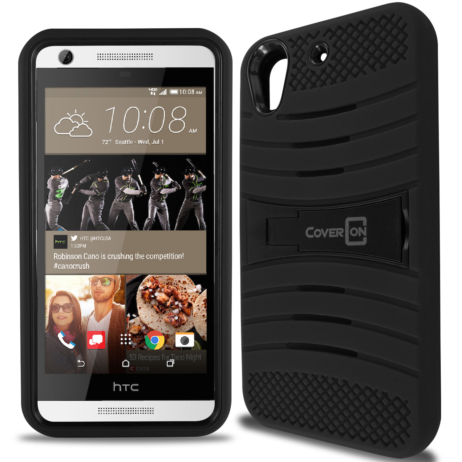 pretty nice 3e2a3 dc13c Details about Black Hybrid Armor Dual Layer Phone Cover Stand Case for HTC  Desire 626 / 626S
