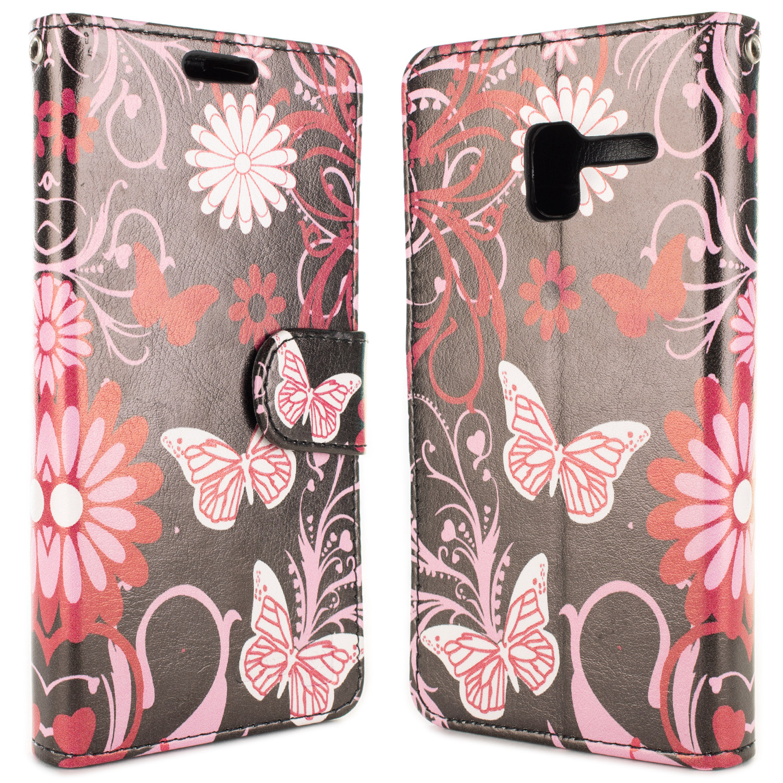 Details about Pink Butterfly Wallet Case For ALCATEL TRU / Stellar / Pop 3  (5