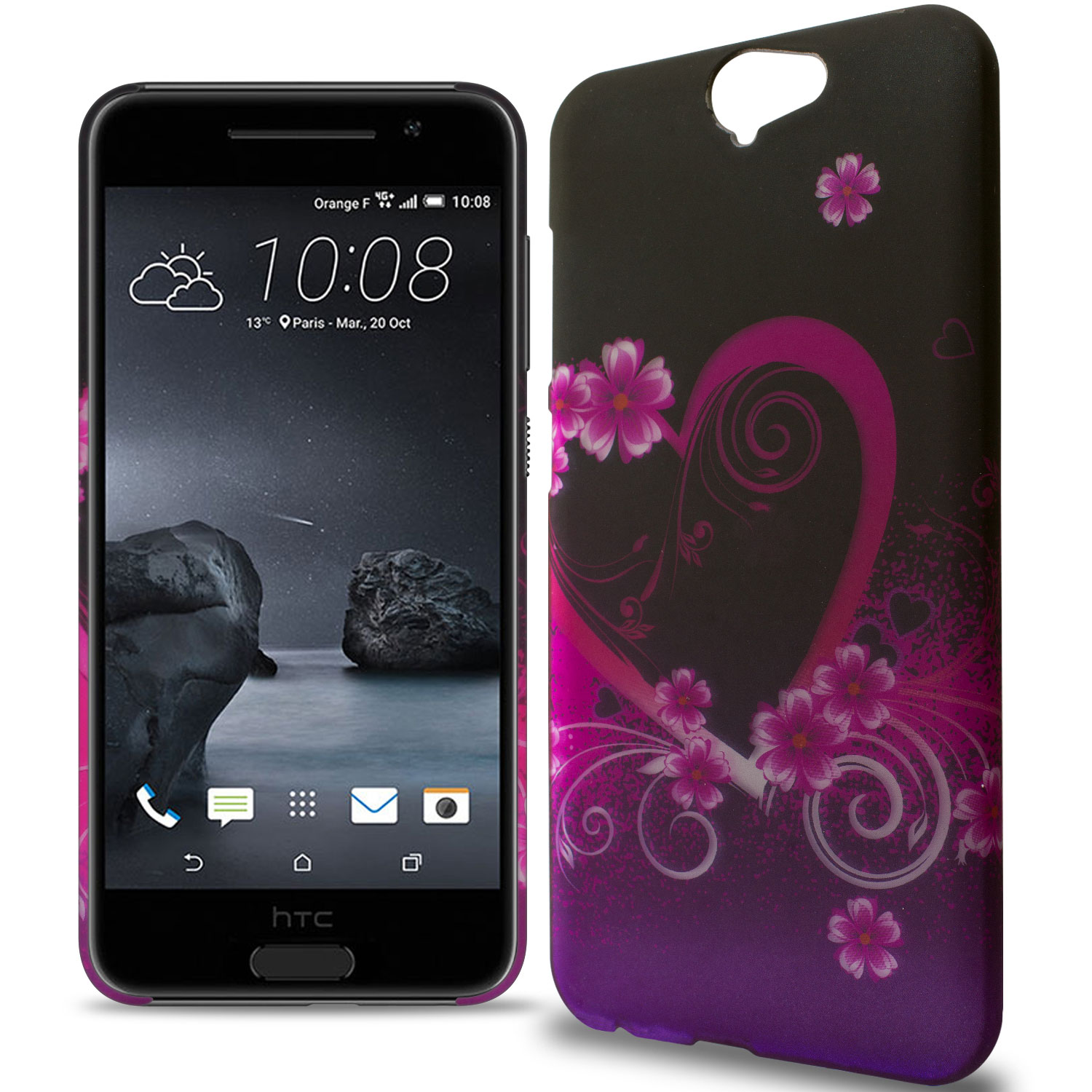 the latest 40b51 a4c04 Details about Hard Phone Case for HTC One A9 - Purple Love Design Slim  Protective Back Cover
