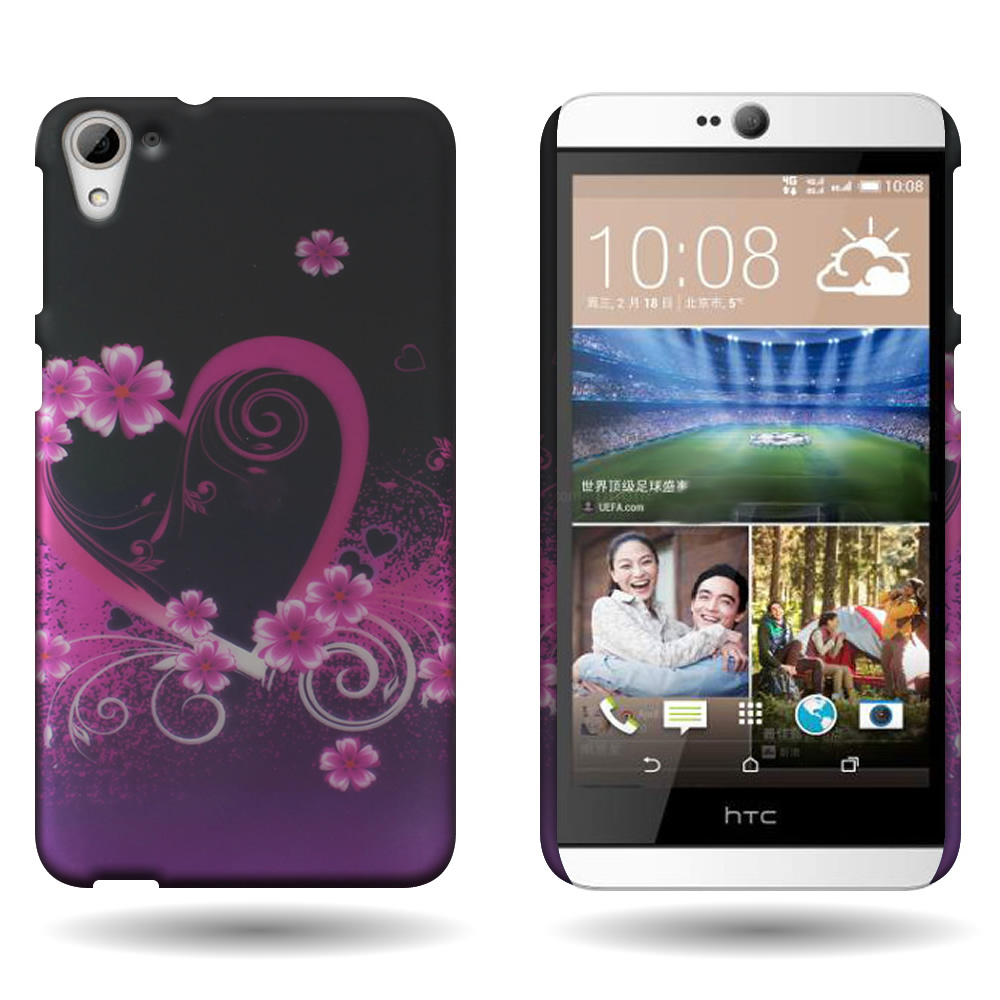 best cheap 6a49d f27b8 Details about Hard Phone Case for HTC Desire 826 - Purple Love Design Slim  Snap On Back Cover