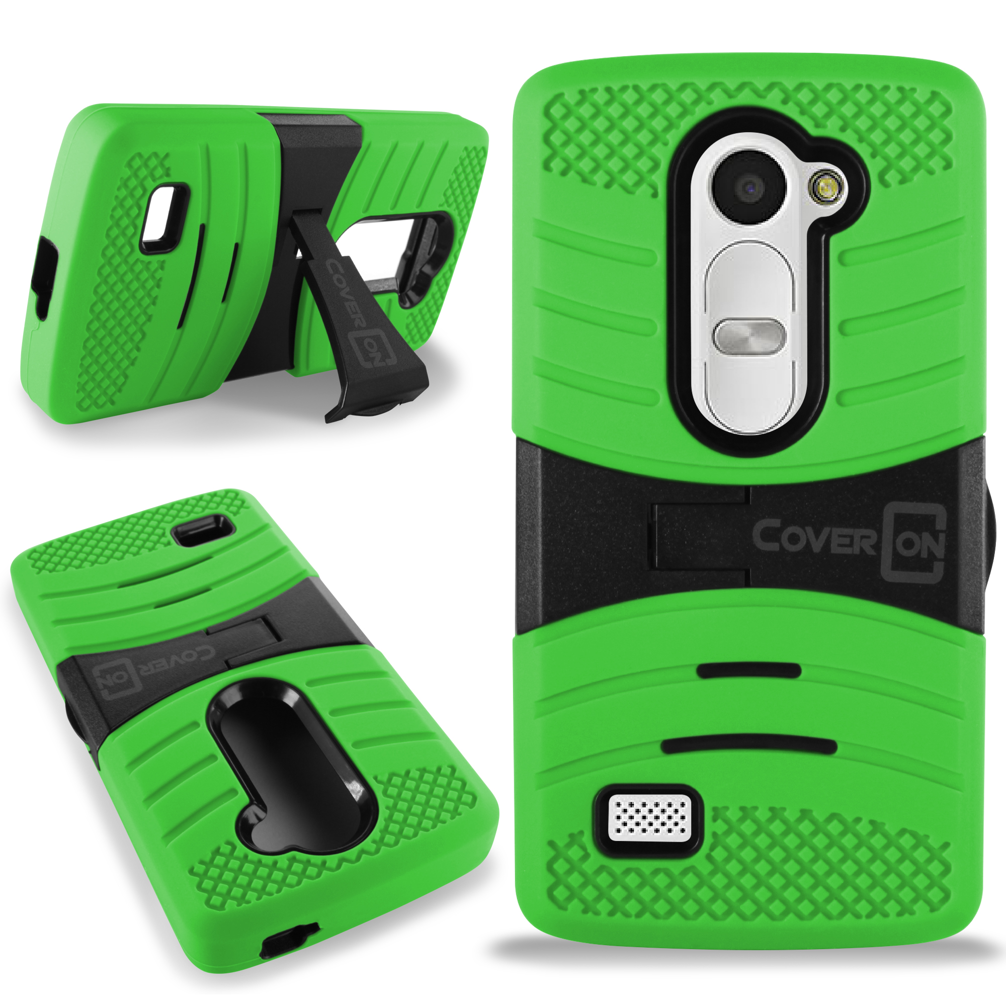 more photos 326a7 f0438 Details about Neon Green Black Hybrid Cover Case for LG Leon Risio Power  Destiny Sunset