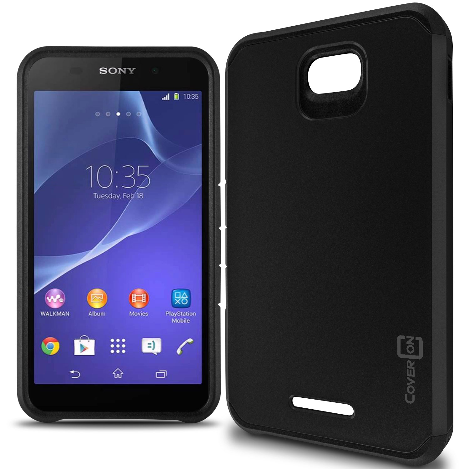 Black Hybrid Dual Layer Rugged Case specifically designed for the Sony Xperia E4 Great bination of style protection