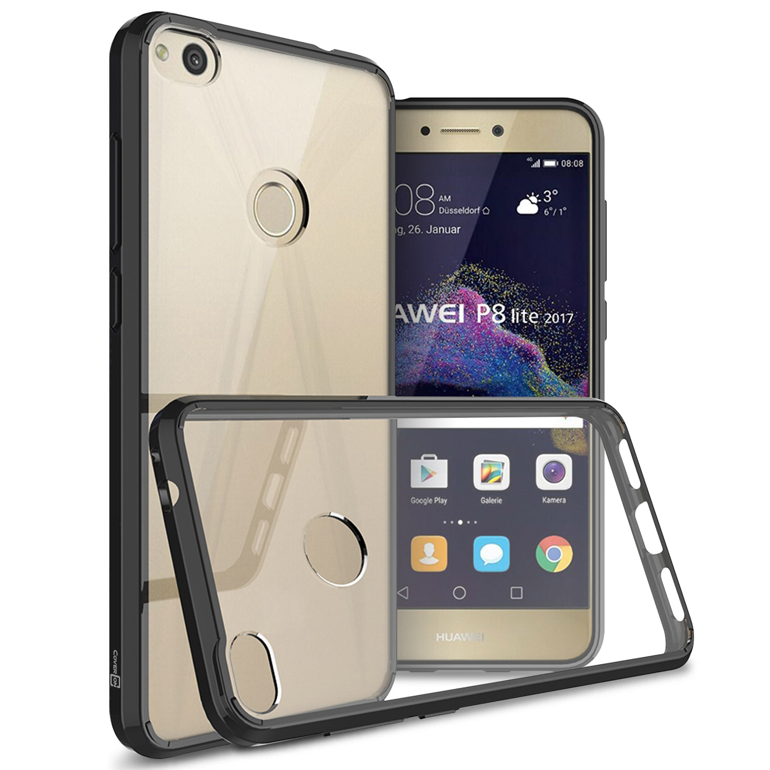 low priced 856c4 f23af Details about Black / Clear Hybrid TPU Bumper Hard Back Cover Case for  Huawei P8 Lite (2017)
