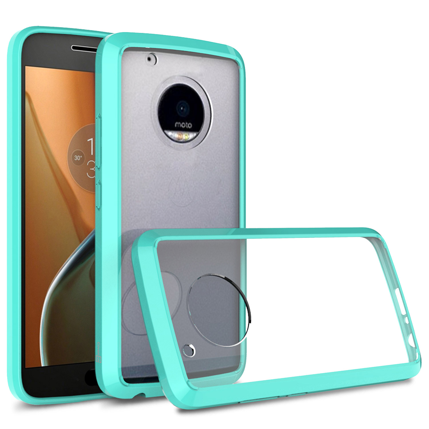 brand new 16e51 d032a Details about Slim Fit Back Cover Case For Motorola Moto G5 Plus / Moto X  2017 Teal / Clear