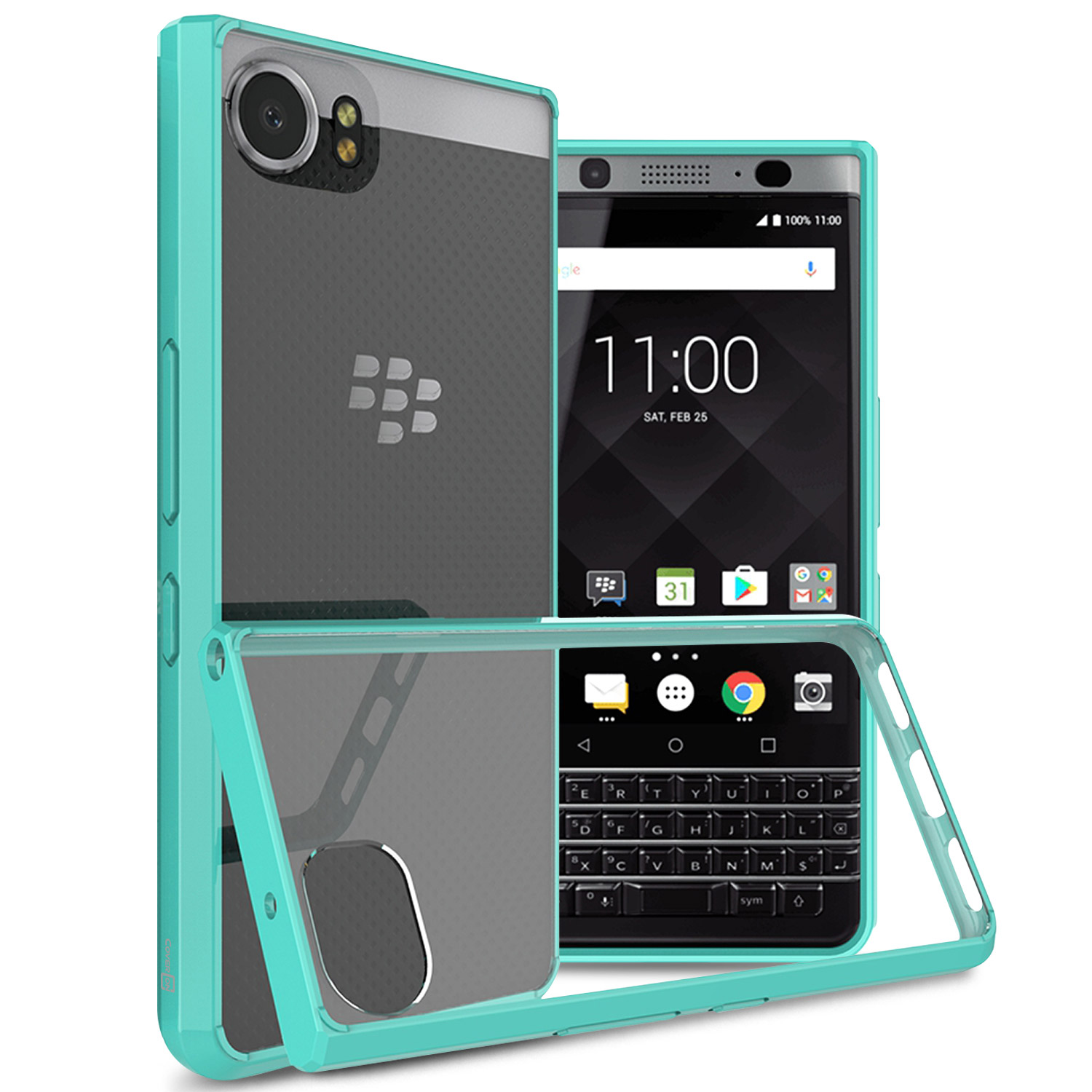 aspetto dettagliato b5bce d84d2 Details about Teal / Clear Hybrid TPU Bumper Hard Back Phone Cover Case for  Blackberry KEYone