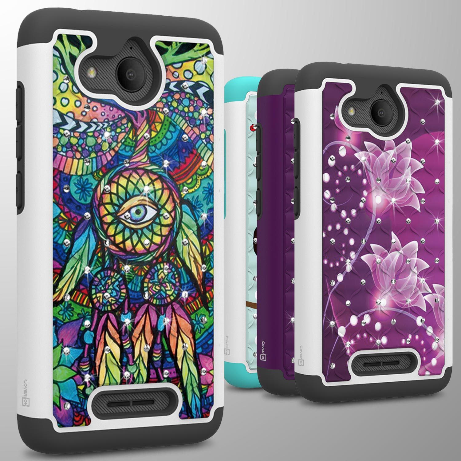 For Alcatel Tetra / 5041C Case Rhinestone Bling Hard Shockproof