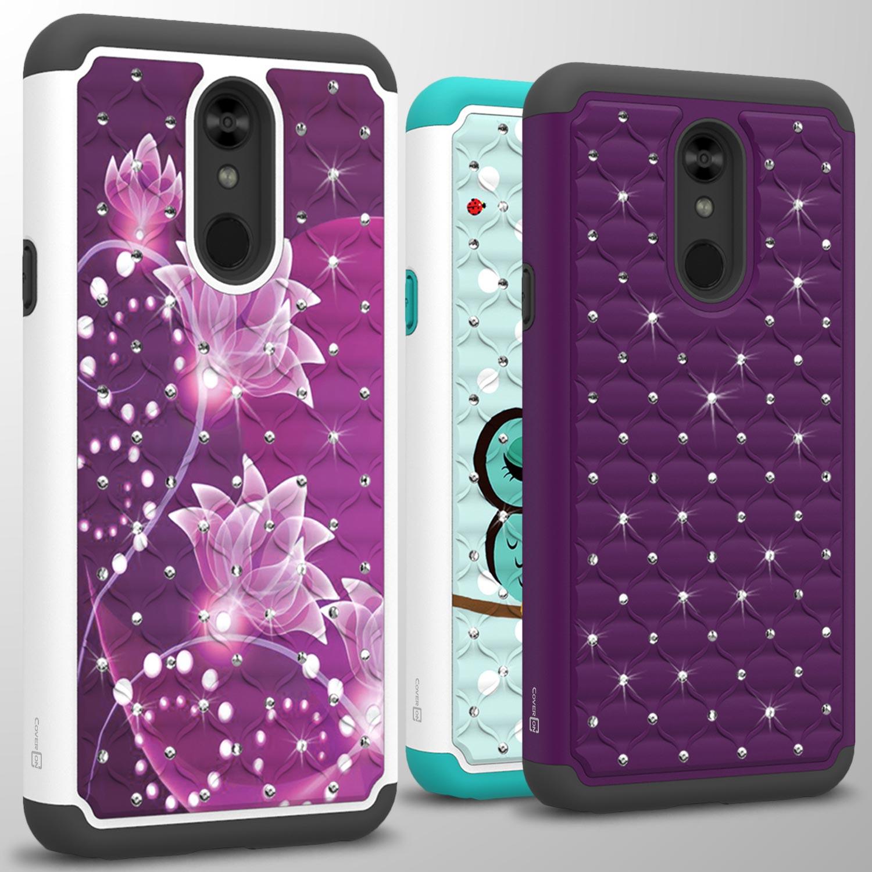 Bling Lovely Purple Flowers Rhinestones Diamonds Jewelry Case For Mobile Phones