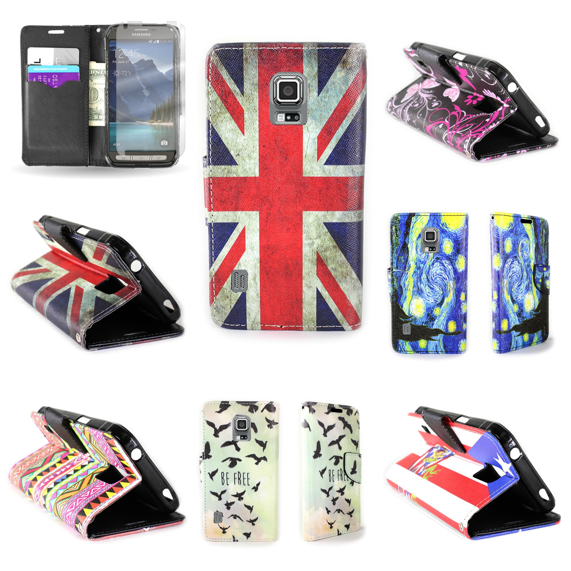 newest 33e68 e530b For Samsung Galaxy S5 Active Wallet - Flip Pouch Credit Card W ...