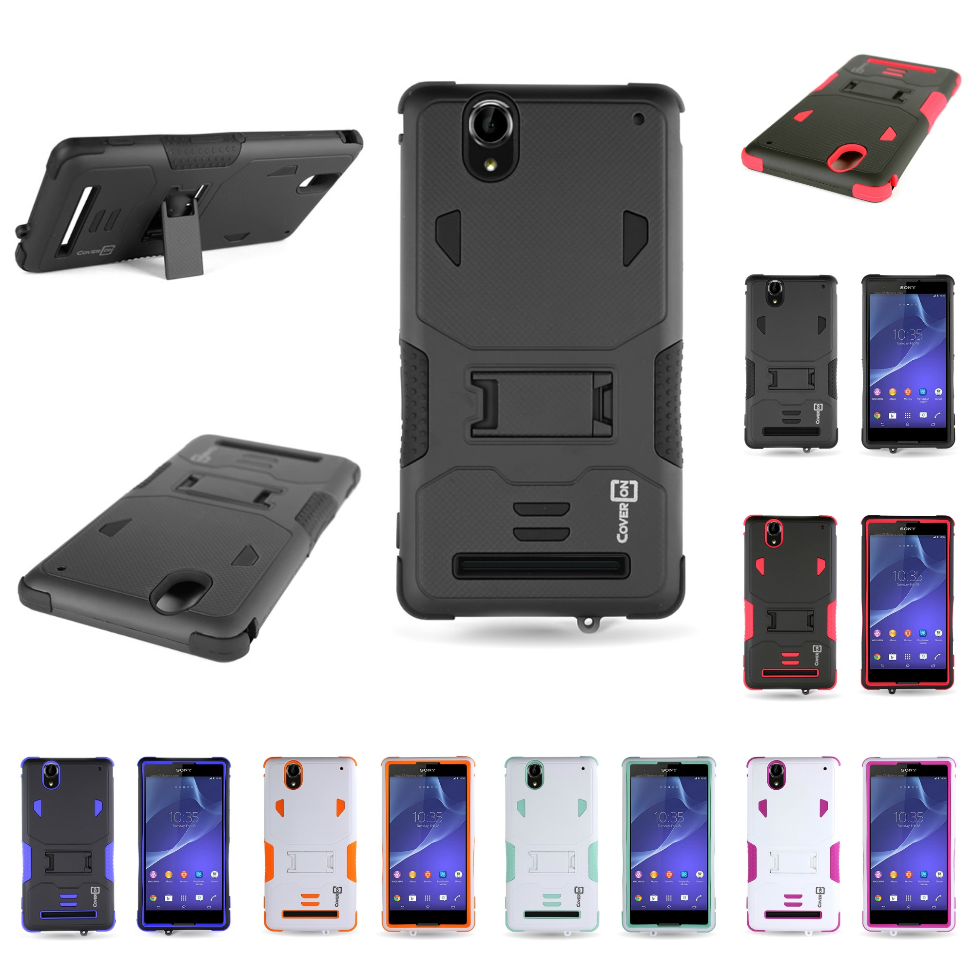 separation shoes 5958f 425de Details about For Sony Xperia T2 Ultra Dual Layer Hybrid Stand Tough  Protective Cover Case