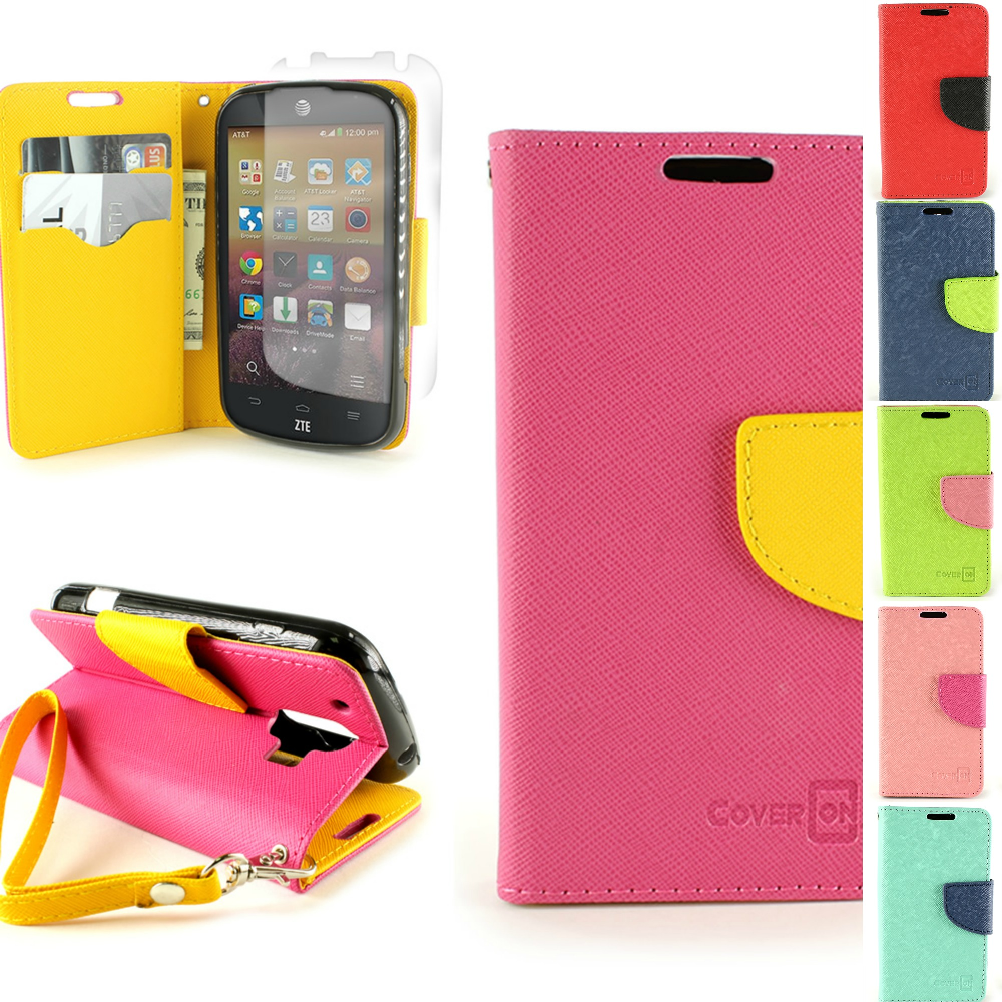For Zte Compel Flip Wallet Case Phone Pouch Protective Cover