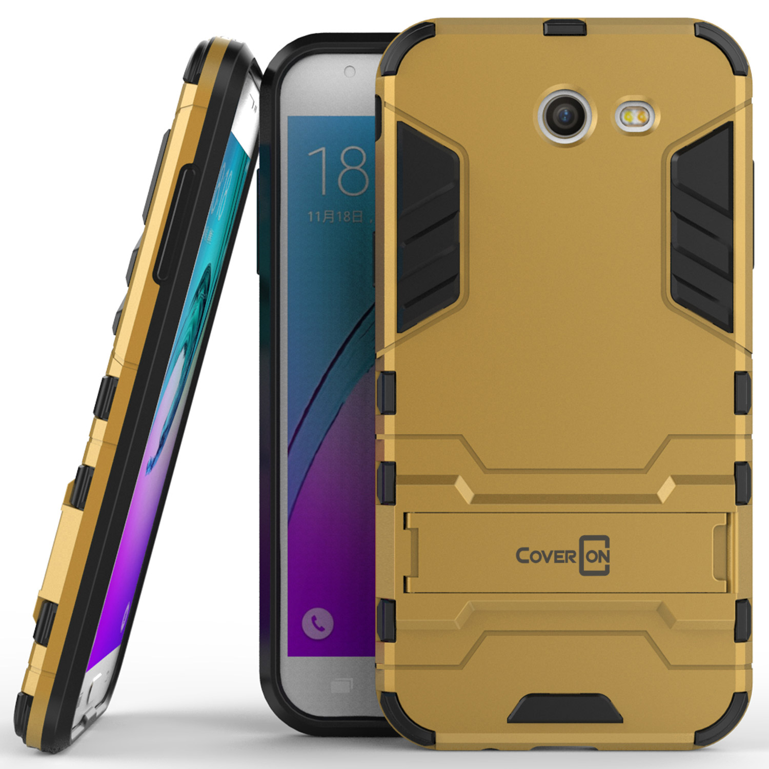 reputable site 709a8 2788c Details about For Samsung Galaxy J3 Luna Pro / J3 Eclipse Case Gold  Kickstand Protective Cover