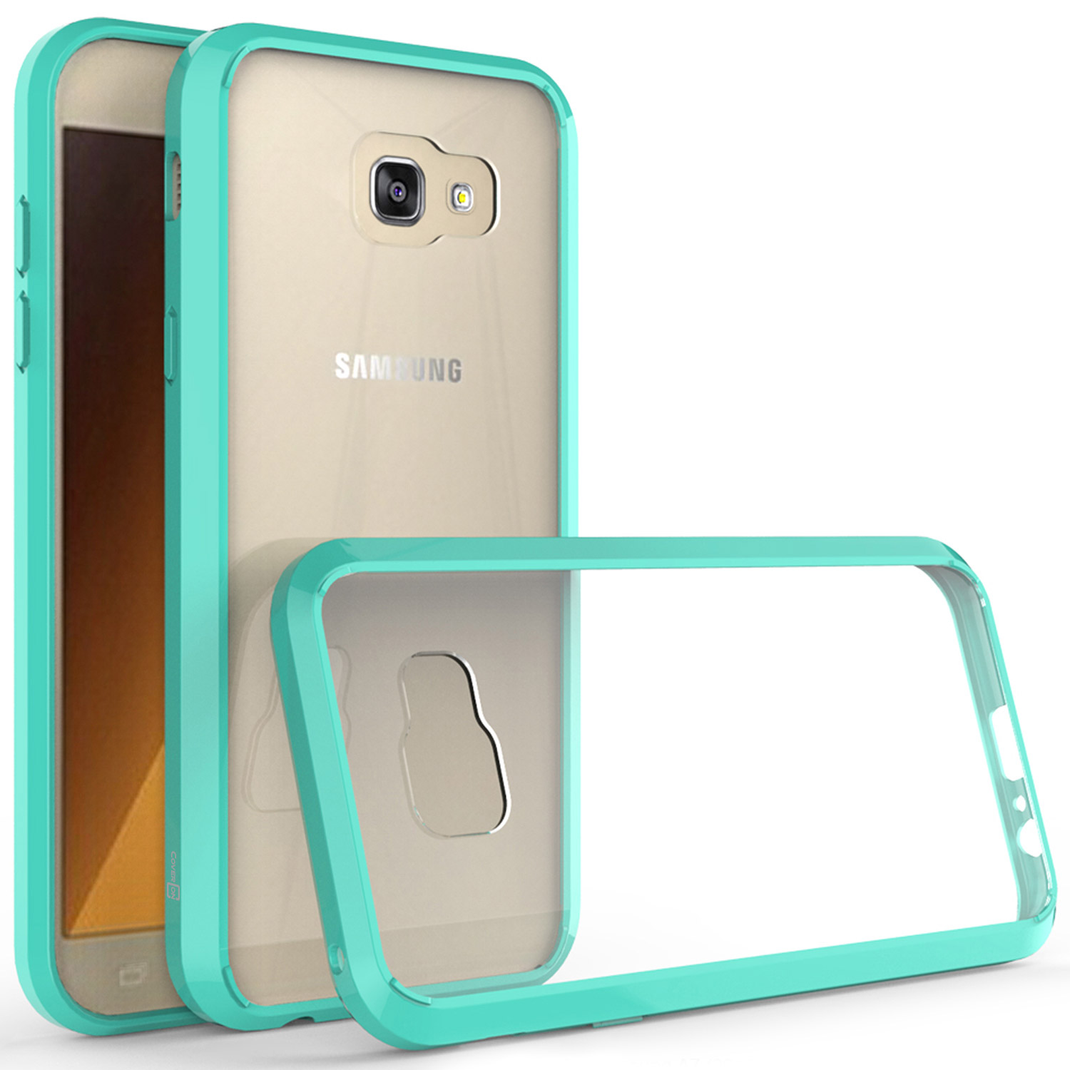 official photos a8f18 7a1eb Details about Hybrid Slim Fit Hard Back Cover Case for Samsung Galaxy A7  2017 Teal / Clear
