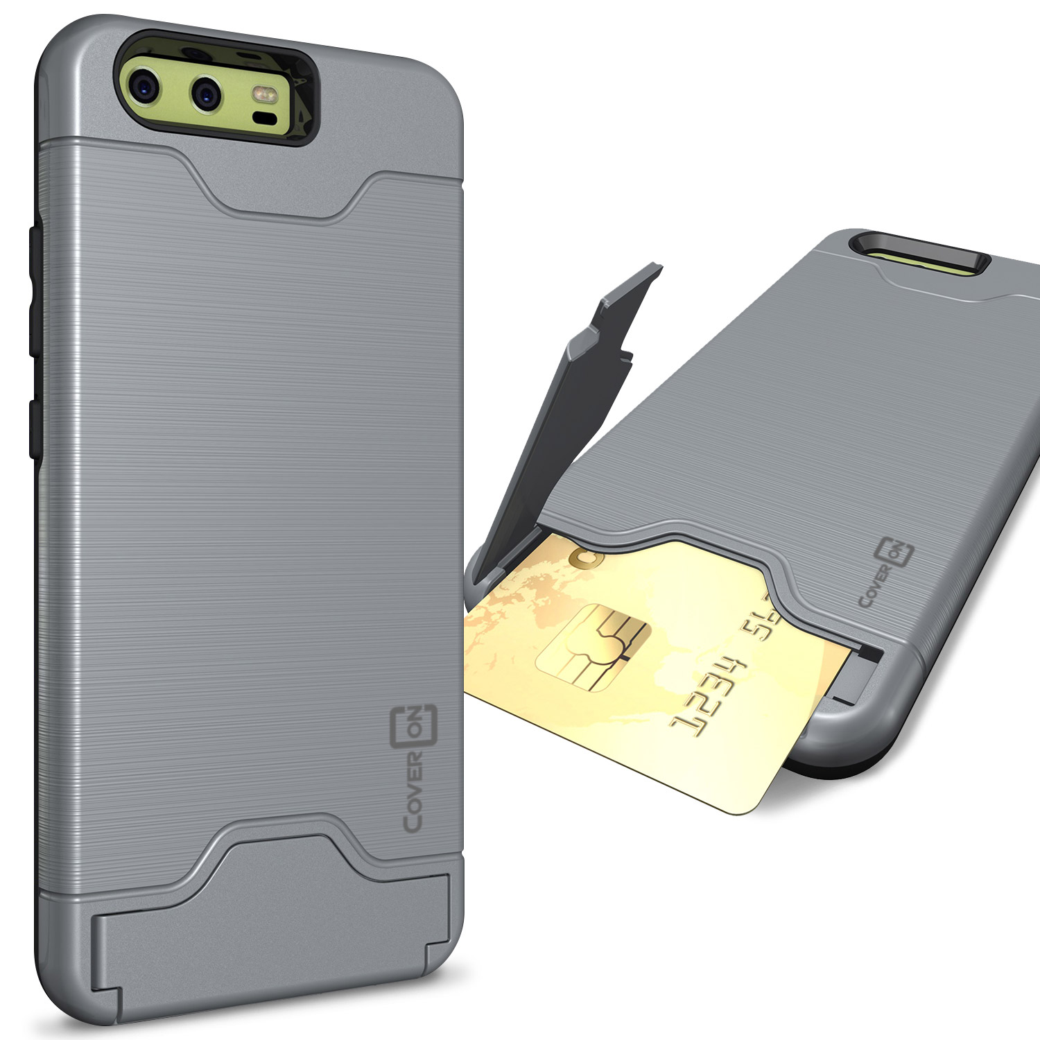 wholesale dealer c8962 f7221 Details about Gray Hard Hybrid Case for Huawei P10 Kickstand Card Holder  Phone Cover