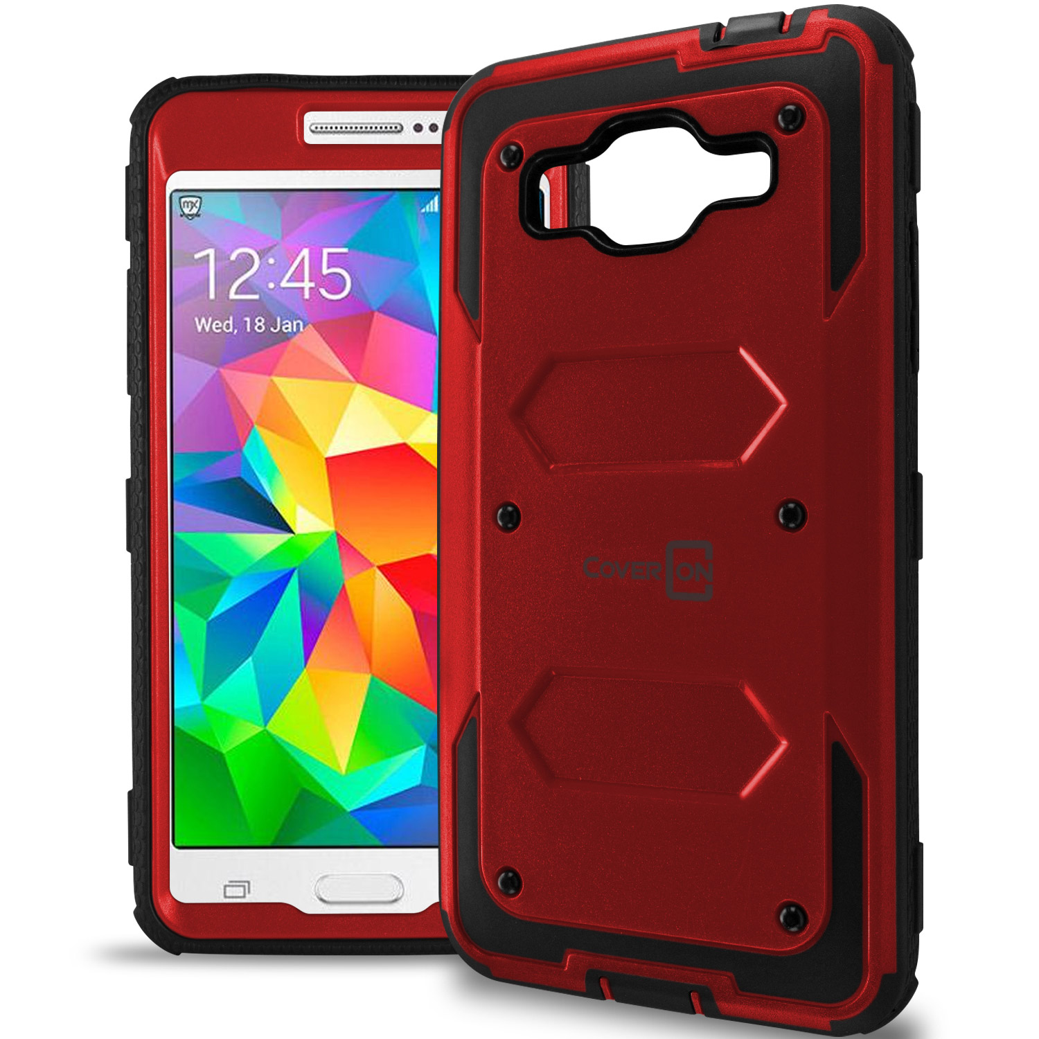hot sale online d4058 19d0e Details about Red / Black Protective Hybrid Phone Cover Case for Samsung  Galaxy Grand Prime