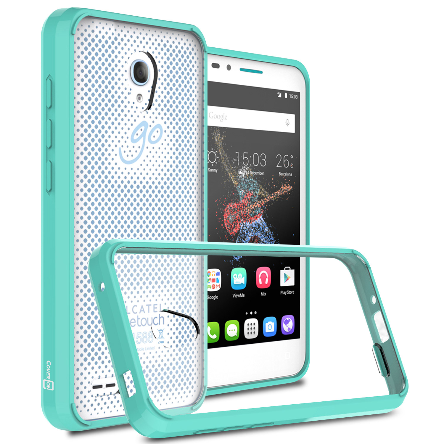 the best attitude 3f782 88fbe Details about Teal Hard Back Cover + Flex Bumpers Case for ALCATEL OneTouch  Go Play / Conquest