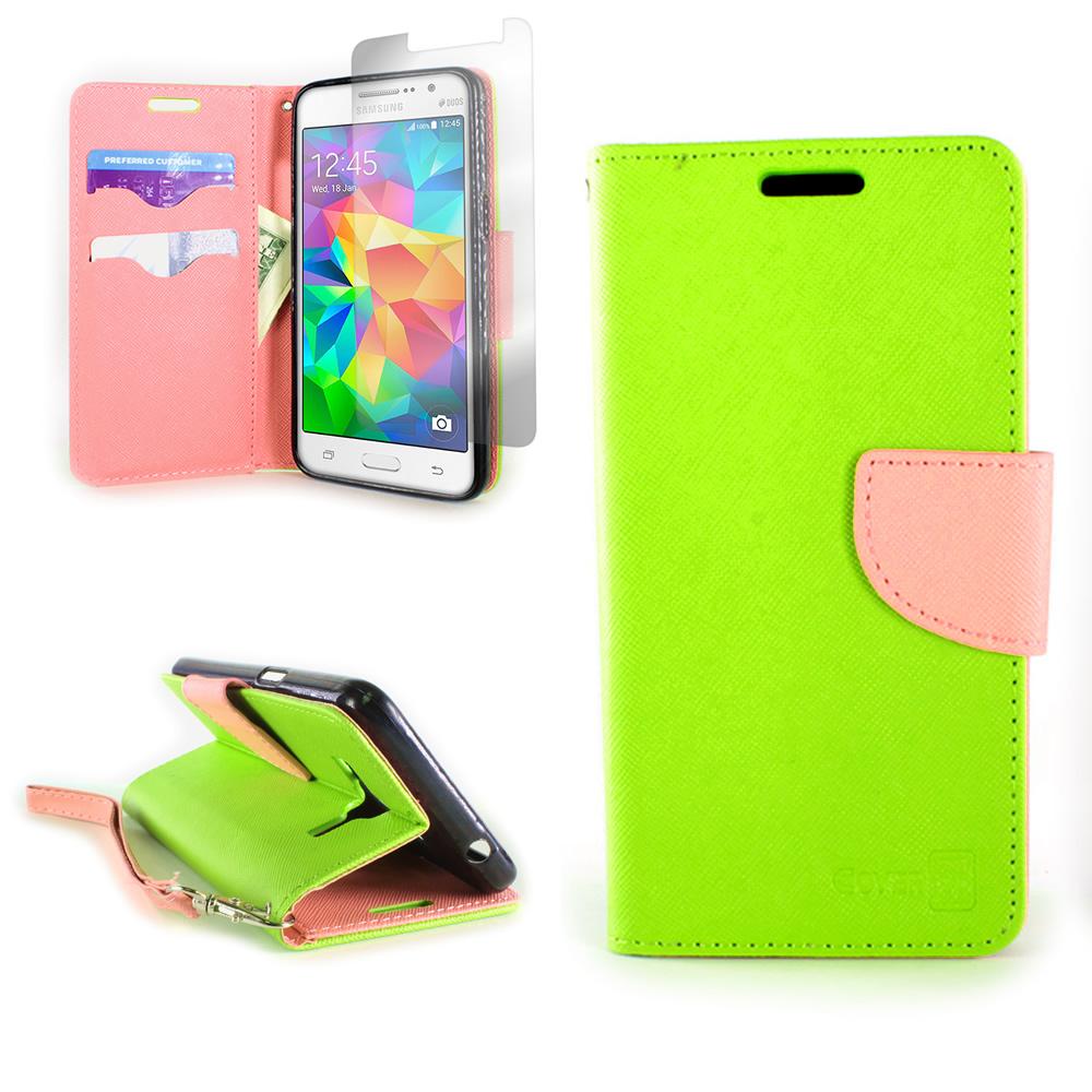 online retailer e64d0 4f71d Details about Neon Green / Light Pink Wallet Folio Case Samsung Galaxy  Grand Prime +