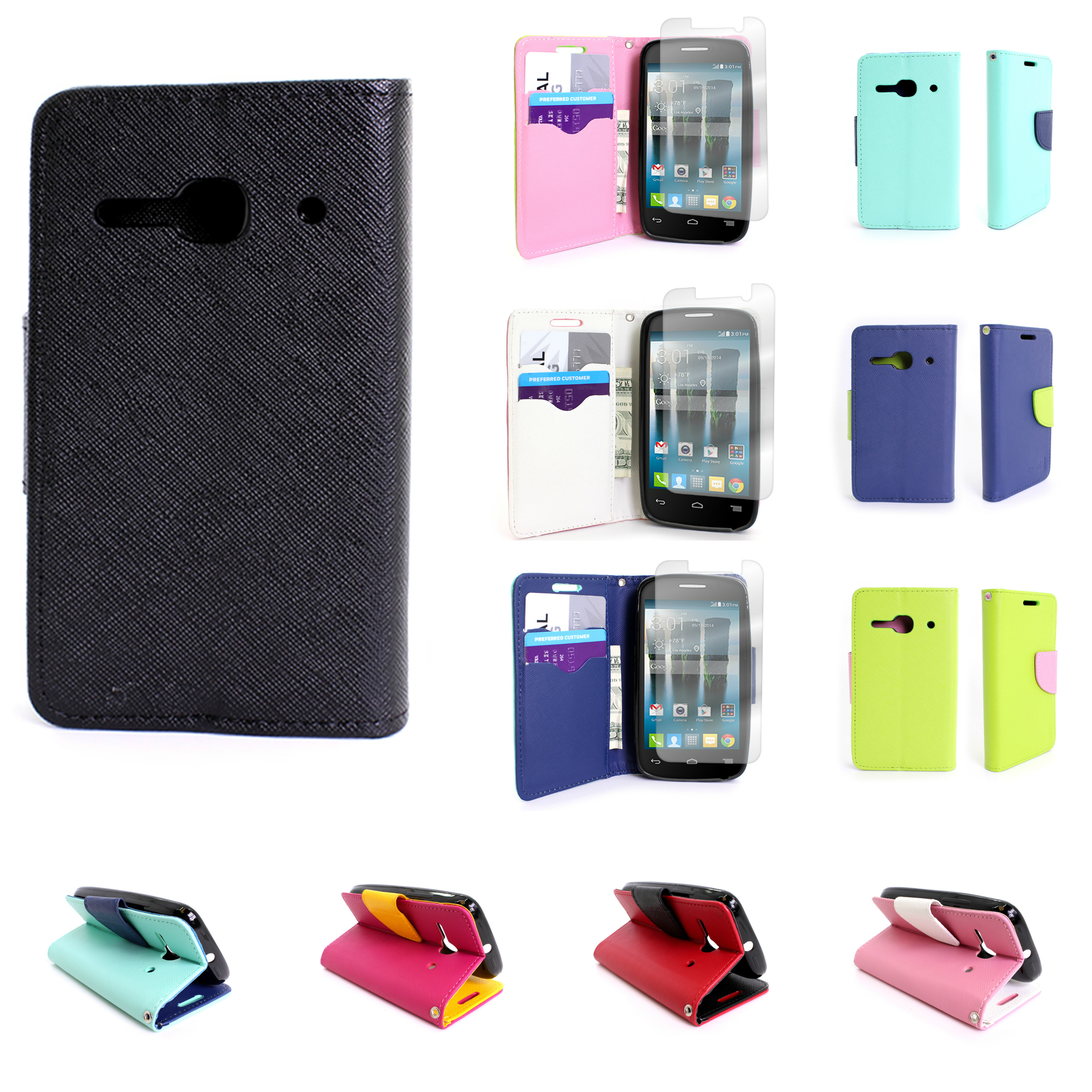 promo code 97394 d1663 Details about Wallet Pouch Stand Phone Cover Case for Alcatel One Touch  Evolve 2
