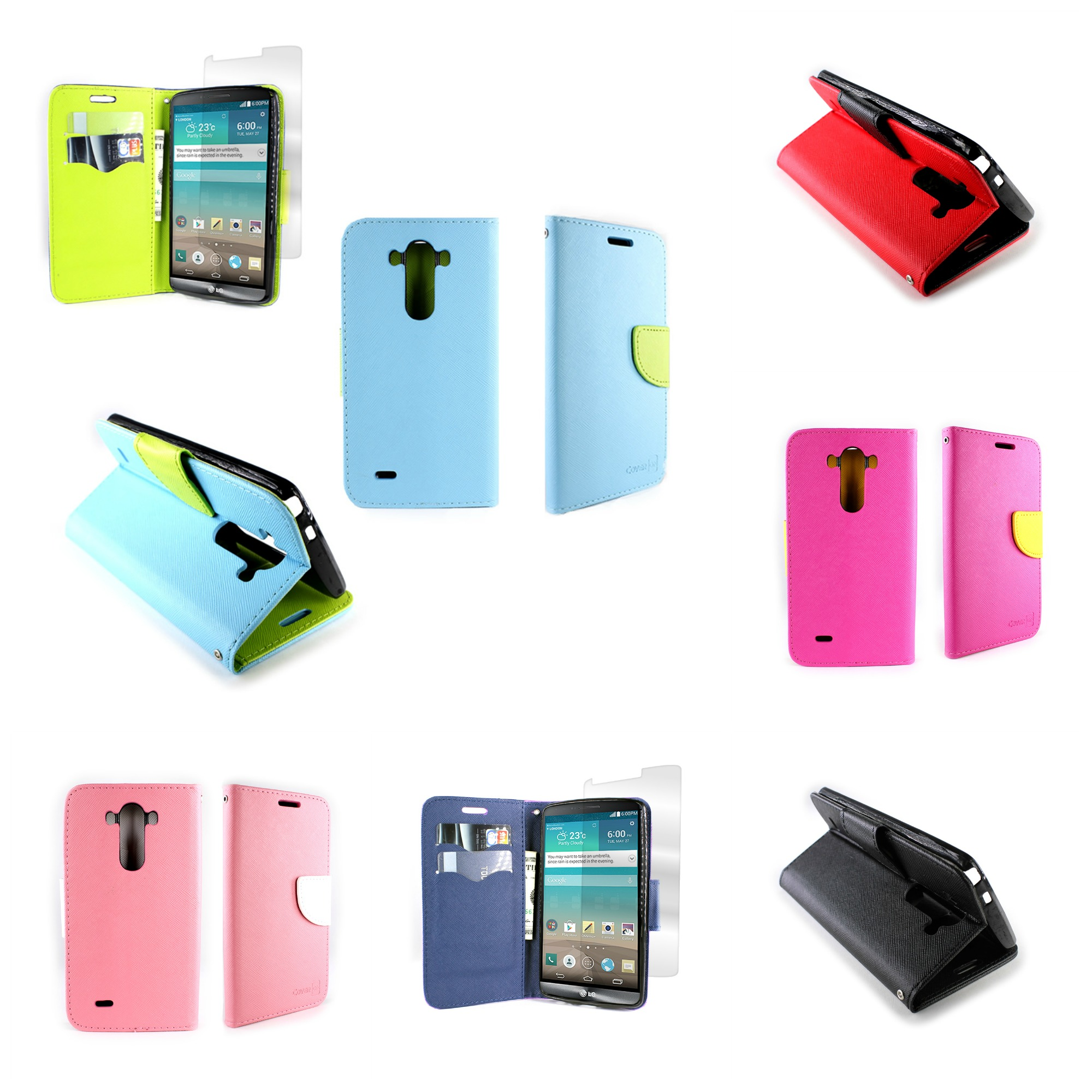 huge discount 51d4e 7fa80 Details about Vinyl Flip Credit Card Wallet Case With Screen Protector for  LG G3 (2014) Phone