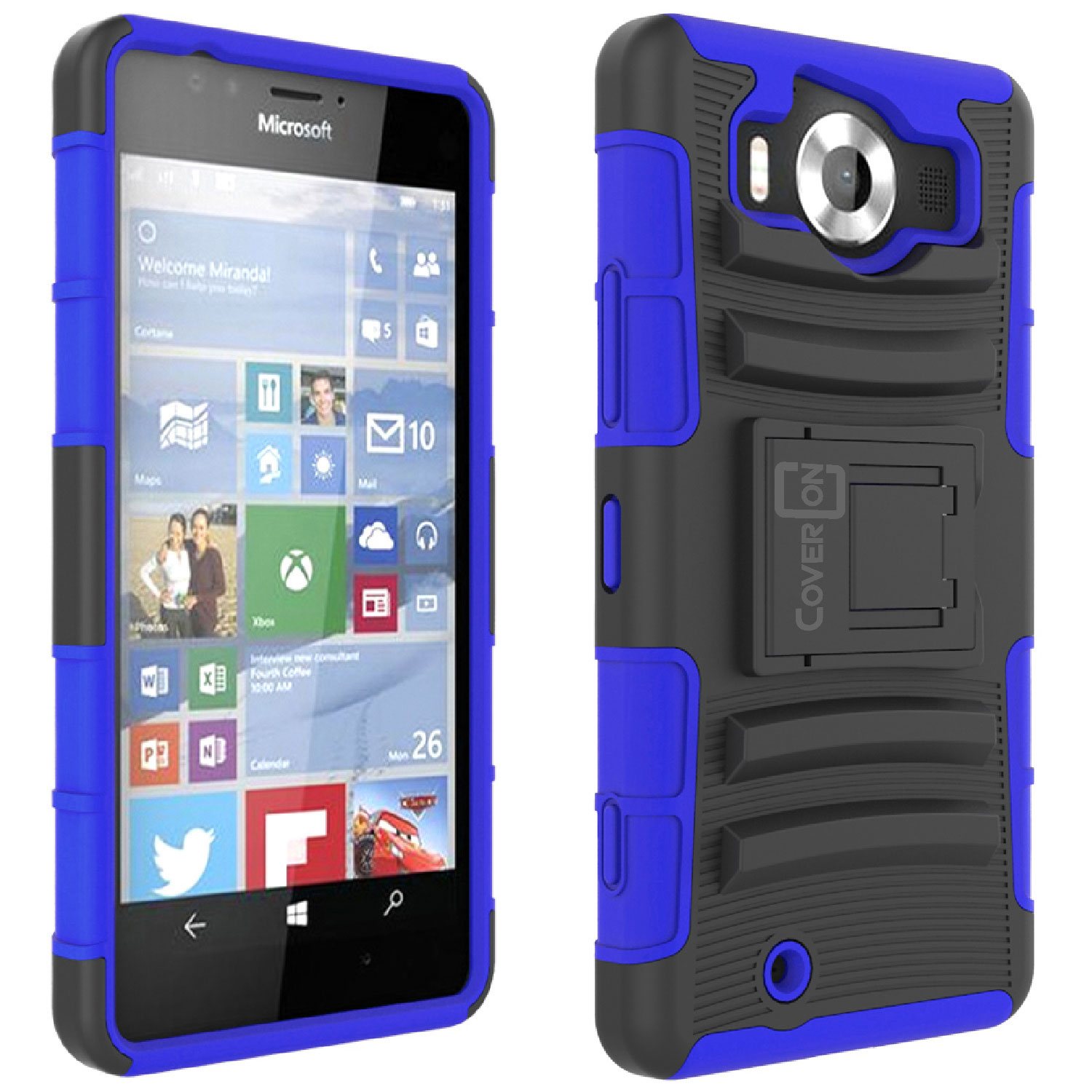 best service d5887 33337 Details about For Microsoft Lumia 950 Belt Clip Case Blue / Black Holster  Hybrid Phone Cover