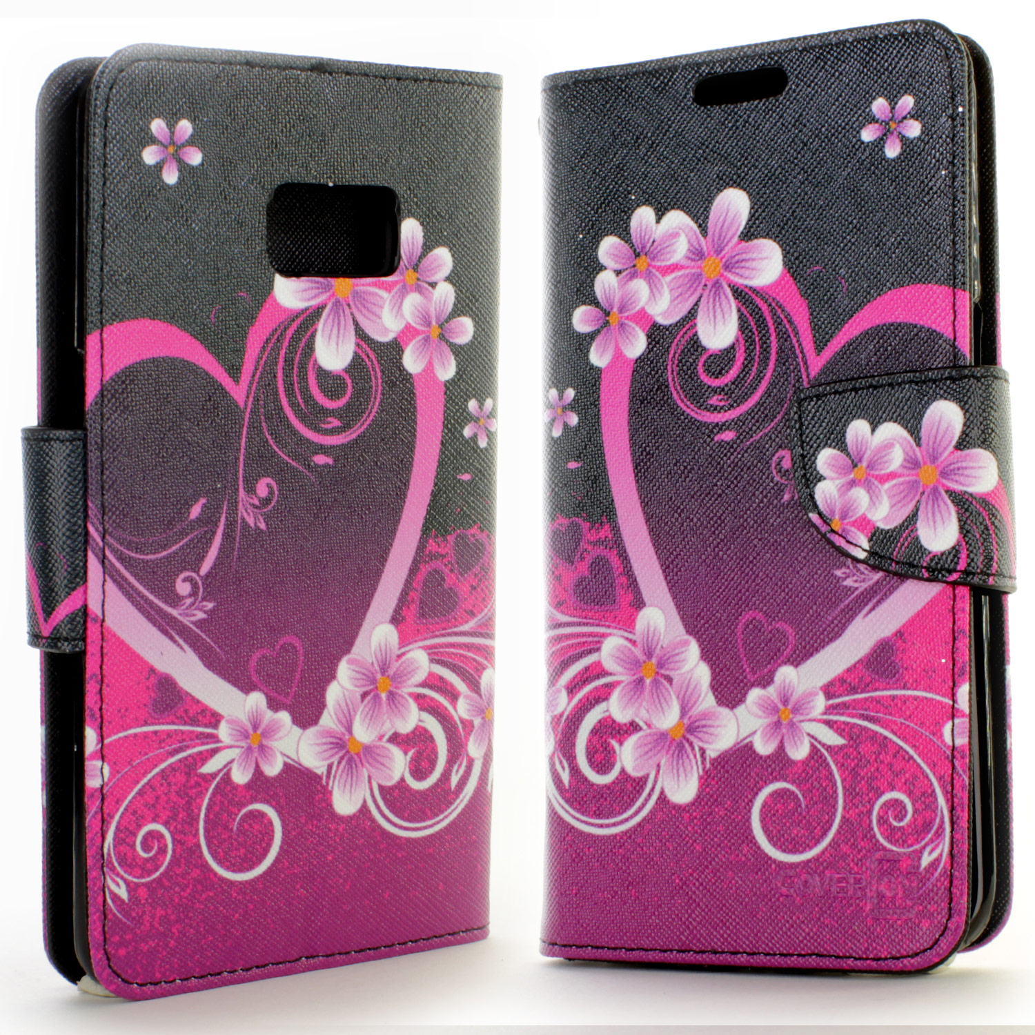purple heart design wallet pouch cover case for samsung galaxy s6